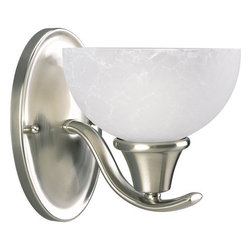 Progress Lighting - Progress Lighting P2739-09 Sentura Single-Light Bathroom Sconce with Etched - Progress Lighting P2739 Sentura Bathroom Light / Wall Sconce