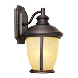 Design House - Bristol 1-Light Outdoor Wall Sconce - Bulb not included. Requires one 120 V medium base incandescent bulb. Tea speckled glass shade. Corrosion resistant. Suitable for damp locations. UL listed. Wattage: 60 watt. Made from formed steel. Oil rubbed bronze color. 8 in. W x 13.25 in. H (3.43 lbs.). Warranty. Assembly InstructionsOutdoor Sconce greets your guests at the door with a soft, inviting glow. Bold lines, rustic appeal and modern construction give your home great curb appeal. Illuminate a front porch or back deck with the classic design and bright finish of this modern-day sconce. This lamp matches brick, stone, wood paneling or aluminum siding.