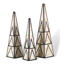 Kathy Kuo Home - Beatrice Global Bazaar Earthtone Bone Obelisks - Create a strong sculptural statement with this trio of tribal inspired, bone inlaid obelisks.  Beautifully handcrafted, they embody a sophisticated approach to rustic style.
