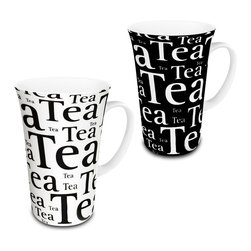 Konitz - Set of 4 Assorted Mega Mugs Tea Writing on Black & White - A jumbo tea mug for the serious tea lover. Top-quality glazed porcelain features a simple collage of the word 'Tea'.