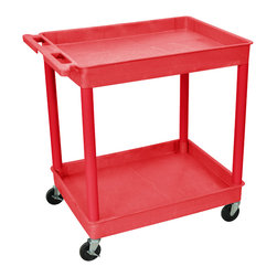 """Luxor - Luxor Tub Cart - RDTC11RD - These Luxor TC series utility carts are made of high density polyethylene structural foam molded plastic shelves and legs that won't stain, scratch, dent or rust. Features a retaining lip around the back and sides of flat shelves. Includes four heavy duty 4"""" casters, two with brake. Has a push handle molded into the top shelf."""