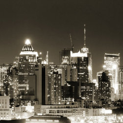 """Home Decor - Nightline Panoramic Wall Decals - The Nightline panoramic peel and stick wall stickers give you a perfect view, like a window to the city at night. These 3 decal panels create a wide black and white scene of the city lights. This Panoramic decal kit comes with three 18.5"""" x 26.75"""" pieces and assembles to 55.5"""" x 26.75"""". Imported from Italy"""