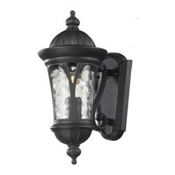 One Light Black Water Glass Wall Lantern - Traditional and timeless, this small outdoor wall mount combines black cast aluminum hardware with clear water glass for a classic look.
