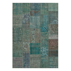 Jaipur Rugs - Hand-Knotted Oriental Pattern Wool Blue/Taupe Area Rug ( 2x3 ) - These hand knotted patchwork rugs are a mix of overdyed and distressed vintage rugs.