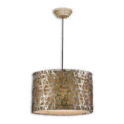 Uttermost - Uttermost Alita Champagne Drum Shade Pendant Light in Silver/Champagne Leaf - Shown in picture: Silver/Champagne Leaf With Black Dry Brushing And Antique Stain. Silver/champagne leaf finish on metal strips with black dry brushing and antique stain.