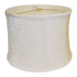 None - Light Cream Round Ribbed Velvet Lamp Shade - Transform your old lamp with this stylish round lamp shade. This classy shade is made from a smooth velvet fabric in a traditional cream color. With its fashionable design, this lamp shade is sure to complement your living room or bedroom decor.