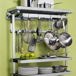 Orginnovations - Orginnovations PegRail Gourmet Pot Rack with 2 Shelf Extensions - 30106.PC - Shop for Pot Racks from Hayneedle.com! Be ready to cook in seconds with the Orginnovations PegRail Gourmet Pot Rack with two Shelf Extensions. Have all you need in one place. You can place and hang plates pans pots and scoops on this rack constructed of commercial grade extruded aluminum. Start cooking set the table and clean up - fast and easy!About Orginnovations Inc.With a vast selection of storage solutions for your closets kitchen office utility room and even your wine collection Orginnovations Inc. looks to provide the best in quality materials design and construction. Their storage solutions are easy to install functional stylish flexible and deliver heavy duty weight capacity. They have excellent customer service and over 40 authorized dealers throughout the US. They even offer custom sizing on closets.