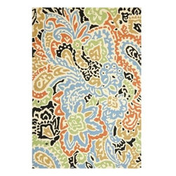 Vibrant Henna Indoor/Outdoor Rug, Festive Multi - This rug features vibrant colors and an ethnic print straight from an open air market.