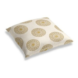 Light Green Sunburst Block Print Custom Floor Pillow - A couch overflowing with friends is a great problem to have.  But don't just sit there: grab a Simple Floor Pillow.  Pile em up for maximum snugging or set around the coffee table for a casual dinner party. We love it in this blockprint sunburst medallion in curry yellow on lightweight cream cotton.  A touch of India for the free spirited nomad in you.