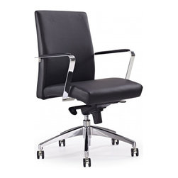 White Line Imports - Clemson Low Back Office Chair in Black - Features: