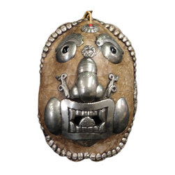 Golden Lotus - Pewter Village Tribal Ceremony Decor Mask Display - This is decorative accent mask display from Chinese small village tribal. The  shell is inset with pewter silver color motif around the surface.