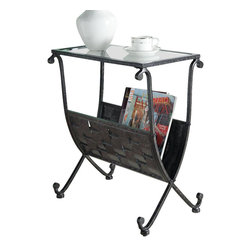 Monarch Specialties - Monarch Specialties 3313 Glass Top Magazine Table in Black and Taupe - This unique magazine table is both stylish and multi-functional. It features a spacious weaved metal rack to hold your magazines and a tempered glass top where you can place your coffee cup as you read the latest novel. With its sturdy black, taupe mixed metal base, this piece is one of a kind.