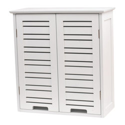 Bathroom Wall Cabinet 2 Doors MDF Miami White - This bathroom wall cabinet Miami is in medium-density fiberboard (MDF). This bath furniture features 2 painted white-finish doors with one shelf inside to help banish clutter from your bathroom. It's an easy and elegant way to fit more necessities into your bathroom and maximize your bathroom's or any room's available space. This elegantly-designed wall cabinet is easy to assemble with the included hardware but cannot be recessed into the wall. Assembly instructions are supplied. Length 20.5-Inch, depth 8.7-Inch and height 21.7-Inch. Color white. This wall cabinet provides an elegant addition to any bathroom with a clean modern look. Complete your Miami decoration with other products of the same collection. Imported.