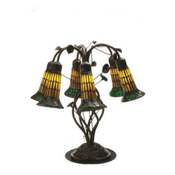 Meyda Tiffany - Meyda Tiffany 6-Light Amber and Green Glass Lily Tiffany Table Lamp X-514201 - Six lights are housed within trumpet-shaped amber and green glass diffusers with intricate detailing on this Meyda Tiffany table lamp. From the Lily Collection, this design features vine accenting and has been finished in a contrasting dark bronze-toned hue that pulls the look together.
