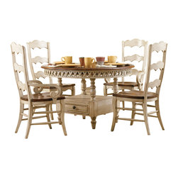 "Hooker Furniture - Summerglen Round Dining Table - White glove, in-home delivery included!  This casual country dining table is crafted from hardwood solids and cherry veneers and handpainted.  Extends to 68"" w x 48"" d x 30"" h with leaf.  One pass through drawer in base.  Floor to apron: 25"" h"