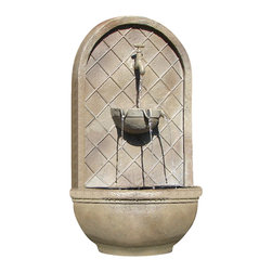 The Milano Wall Fountain, Florentine Stone - The Milano Wall Fountain is a centerpiece of serenity and beauty of nature for your garden or outdoor space. This fountain brings tranquility and serenity through its flowing sounds and a feeling of being one with nature.