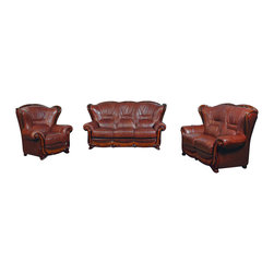 ESF - ESF 100 Brown Top Grain Italian Leather 3 Piece Sofa Set - The ESF 100 sofa set is a great addition for any room that wants modern design with a traditional look. This sofa set comes upholstered in a beautiful brown top grain Italian leather in the front where your body touches. Skillfully chosen match material is used on the back and sides where contact is minimal. High density foam is placed within the cushions for added comfort. Each piece features is accented along the edges with detailed wood trim in a natural finish. Only solid wood products were used when crafting the frame making the sofa set a very durable set. The sofa set consist of a sofa, loveseat, and chair only.