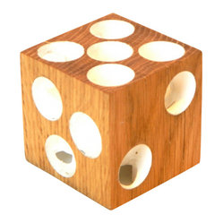 EcoFirstArt - Dice Candleholder - A whimsical and useful art object, this dice candleholder sits nicely on your kitchen or dining room table. Crafted to hold up to six candles, it's a tidy, amusing way to present candlelight. Made of sustainable wood, you can use it for game night too!