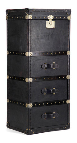 Kathy Kuo Home - British Industrial Black Leather Masculine Floor Trunk Dresser - Reminiscent of the trunks that accompanied transatlantic travelers during the golden age of cruise lines, this tall three drawer leather chest delivers function and serious style in equal measure.  Bold black leather, brass rivet details and leather strap handles all create a strong, masculine effect.