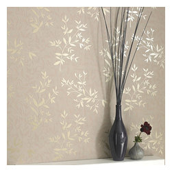 Graham & Brown - Bijou Wallpaper - This beige wallpaper is a beautiful leaf silhouette design with accent sprigs picked out in metallic inks. Superfresco Easy has a host of co-ordinating plains and accents to help build your scheme - so it is Easy to choose - and using paste-the-wall technology means decorating times are cut by half - making it Easy to Use - it also comes off easily when you fancy a change