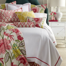 "Legacy Home - Legacy Home Full Floral Duvet Cover, 86"" x 86"" - Evocative of an emperor's garden, these pretty bed linens are printed with blossoms and birds in pink and green. Made in the USA by Legacy Home. Dry clean. Floral and geometric prints are a linen/rayon blend as is the light green pillow with embroidery. Tailored dust skirt has an 18"" drop. 14"" x"