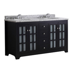 Simpli Home - Greyhaven Black 60 inch Vanity Set  with Giallo White Granite Top - The 60 inch Greyhaven modern bathroom vanity is constructed in a contemporary design. This double sink vanity is constructed of solid hardwoods and features maximum storage while maintaining a beautiful clean line appearance. An excellent addition to any bathroom.