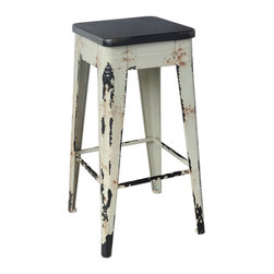Moe's Home Collection - Moe's Home Sturdy Barstool in White - Industrial look.