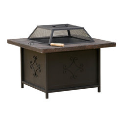 Great Deal Furniture - Morgan Outdoor Fire Pit - Enjoy the outdoors with the Morgan fire pit. Constructed with fiber glass reinforced cement, this fire pit is elegantly designed with a black iron bottom and weathered copper frame finish. The iron shield offers ample protection to enjoy chats fireside with your guests and is removable for those beloved smore nights. Adding this piece will bring warmth to your backyard or patio area for those summer or winter nights.