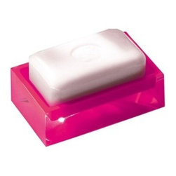 Gedy - Free Standing Soap Dish, Pink - This decorative soap dish is made of thermoplastic resin and available in 8 fun colors - blue, black, white, red, pink, orange, green and silver.