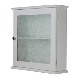 Elegant Home Fashions - Connor Medicine Cabinet with 1 Glass Door - The Connor Medicine Cabinet from Elegant Home Fashions features a water textured glass panel door in a white finish. The cabinet's classic design offers ample storage. The cabinet features one fixed inner shelf that is ideal for storing items. The double plated door knobs add a charming touch. This cabinet comes with assembly hardware.