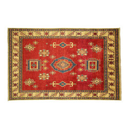 Manhattan Rugs - New Subtle Geometric Tribal Kazak 5x8 Hand Knotted Fire Red/Ivory Wool Rug H3413 - This is a true hand knotted oriental rug. it is not hand tufted with backing, not hooked or machine made. our entire inventory is made of hand knotted rugs. (all we do is hand knotted)
