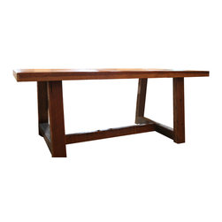 Doorman Designs - The Pecky Dining Table-Farmhouse Style Table Made Reclaimed New Orleans Homes - Made to order- The Pecky Dining Table is a farmhouse inspired table made from a rare type of Louisiana wood known as Pecky cypress.