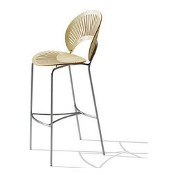 Fredericia Furniture - Trinidad Stool - Sleek, chic, light and airy, this Nanna Ditzel stool's fan-shaped design adds summery style to any space. Pull it up to your bar or kitchen island and let the lovely light shine through.