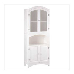 Lakeside - Linen Cabinet - A classic design refashioned with sophistication using silver-finished magnetic hardware and veiled glass doors.  This wood cabinet is a stately home for towels, sheets, and more.  Some assembly required.  Contents not included.  Due to the size and weight of this item, we are ONLY able to ship within the Continental United States, to physical address locations and via UPS Ground.