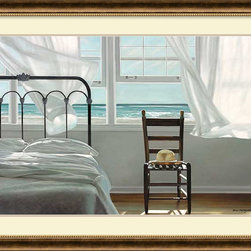 Amanti Art - Karen Hollingsworth 'The Dream of Water' Framed Art Print 44 x 33-inch - In The Dream of Water by Karen Hollingsworth a coastal breeze gently ruffles aside the gauzy bedroom curtain to allow for a view to the cerulean ocean beyond.
