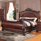 "Acme Furniture - Abramson Queen Bed in Cherry - Abramson Queen Bed in Cherry; Finish: Cherry; Dimensions: 72""H"