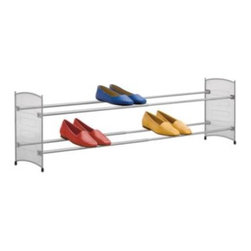 "Lynk - Lynk Expandable Mesh Shoe Rack in Platinum - Organize your shoes and save space, too! This sturdy floor-standing mesh shoe rack expands from 22 1/2"" to 43"" to keep your shoes neat and organized, while taking up only as much space as needed."