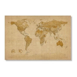 Antique World Map by Michael Tompsett Wall Art - Artist maked and ready to hang, the Antique World Map by Michael Tompsett Wall Art is a handsome addition to your library wall. This gallery wrapped world map has an antiqued look with different colored country borders and makes a handsome gift idea. The Value of Giclee PrintsPronounced jee-clay, this method is an advanced printmaking process for creating high quality fine art reproductions. The attainable quality that giclee printmaking affords makes the reproduction virtually indistinguishable from the original artwork. The result is wide acceptance of giclee prints by galleries, museums, and private collectors.Gallery-WrappedThe term gallery-wrapped means that the canvas is stretched over the sides of the frame and secured to the back. This allows you to hang the canvas as is upon delivery. It's often used and is perfect for more contemporary styled art works.
