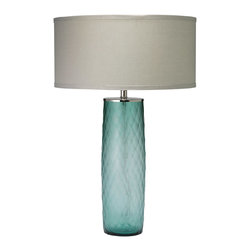 Jamie Young - Jamie Young Cloud Sky Blue Table Lamp Base - Artist Jamie Young keeps design classy and contemporary with the simple diamond pattern of the Cloud sky blue table lamp. Top this gorgeous textured glass base by adding the shade of your choice for a versatile modern accent. Glass; Add an optional shade: shown with thin classic drum shade in breeze linen, choose a style and fabric to suit your decor; Wired with 8' clear cord; Silver sockets and switches; Accepts 150 max bulb; Includes finial; Harp sold with optional Jamie Young lamp shade or can be added to order