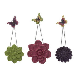 """IMAX - Guzman Wall Flowers with Chain - Set of 3 - Flutter your way home with these darling wall flowers and butterflies. Perfectly at home in a kitchen, garden room, or bedroom, these will appeal to all ages with their bright, fun color and whimsy. Item Dimensions: (11.25-32-33.5""""h x 1.75-2-2.75""""w x 11.25-13-15.75"""")"""