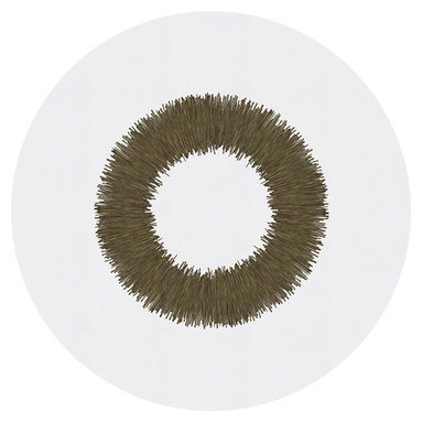 Huddleson Linens - London White Round Linen Tablecloth - This is just the perfect round linen tablecloth for your holiday table or any season. A bronze wreath sits starkly in the center against a crisp white background, framing your presentation and beckoning your guests to a wonderful meal. So simple, so rustic, yet versatile enough for formal occasions as well.
