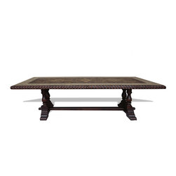 Traditional Tuscan Dining Table, Grayish Blue W/ Natural Distressed - Traditional Tuscan Dining Table, Grayish Blue W/ Natural Distressed and Gold Scrolls