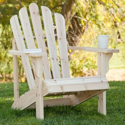 Shine Company Westport Adirondack Chair - Natural - The Shine Company Adirondack Chair is a terrific option for anyone looking for the timeless comfort of an Adirondack Chair along with a custom look. Because this chair is unfinished you can easily apply your own paint or wood stain to create the perfect effect - or leave unfinished for a natural look- whether you use this chair indoors or out. Assembles in approximately 25 minutes; seat and backrest arrive pre-assembled. This chair features a contoured seat a fan-shaped scalloped back and wide armrests to provide ergonomic comfort as you indulge in well-earned relaxation. Crafted from durable Cedar with rust-resistant hardware this Adirondack chair is designed to provide years of enjoyment. About Cedar woodCedar wood is lightweight and resistant to both cracking and moisture rot. The oils of this resilient wood guard against insect attack and decay and their distinctive aroma acts as a mild insect repellant. Cedar is a dependable choice for outdoor furniture either as a finished or unfinished wood. Over time unfinished cedar left outdoors will weather to a silvery gray patina. This natural process does not compromise the strength or integrity of the wood. Another great aspect of cedar is its environmental effect - which is minimal. A renewable resource cedar wood emits low greenhouse gasses. So rest assured knowing that your beautiful cedar furniture is a green choice too! About Shine Co.Shine Co. produces quality wood furniture home accents and decorative pieces. It has an honest straightforward mission to supply its customers with charming functional pieces made of natural materials. Each piece is assembled by an experienced craftsman with great care and attention to detail.
