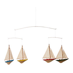 Glenna Jean - Glenna Jean Set Sail Ceiling Mobile - Sailboats - The Glenna Jean Set Sail Ceiling Mobile - Sailboats allows baby to watch the primary colored boats gently sail through the air when hung from the ceiling.