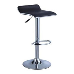 "Powell - Set Of 2 Black Faux Leather / Chrome Thin Seat Adjustable Height Bar Stool - Set of 2 black faux leather / Chrome Thin Seat Adjustable Height Bar stool.  The Thin Seat Bar stool is a unique, contemporary addition to your home. The backless curved faux leather seat, round sturdy footrest and height adjustable lever provides both style and function. An eye-catching, versatile black and chrome easily complements your home's existing decor. Seat adjusts with a gas-lift mechanism. 300 pound weight capacity. BIFMA 5.1 and EN1335 standard testing passed and approved. Bar stool measures:  14-3/4"" x 13-1/2"" x 26"" - 34-1/4"" tall.   Some assembly required.  Material Content: black PU, faux leather & Chrome steel."