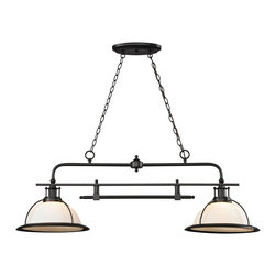 Elk Lighting - Elk Lighting Wilmington Collection 2 Light Island/Billiard Light In Oil Rubbed B - 2 Light Island/Billiard Light In Oil Rubbed Bronze - 55046/2 in the Wilmington collection by Elk Lighting The Wilmington collection has a classic design style to enhance a variety of settings.  A pulldown single pendant offers added versatility and function to the series that is finished in Oil Rubbed Bronze with opal white glass.  Island (1)