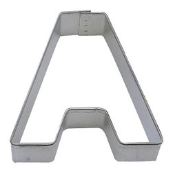 "RM - Letter A 3 In. Ala - Letter A cookie cutter, made of sturdy tin, Size 3"" tall, Depth 7/8"", color: silver"