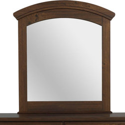 Standard Furniture - Standard Furniture Parker Arched Mirror in Golden Brown Cherry - Parker Bedroom offers the perfect solution for rooms that have a smaller footprint, yet still need lots of storage. - 65968.  Product features: Design features include clean case profiles, lipped drawers with step shaped edges, smooth base line cuts and rounded top crowns. ; Parker's mid- height Loft Bed allows a twin size sleeping area up top with the Dresser and Bookcase fitting beneath, all in the same compact floor space. ; For safety there is a sturdy built-in side rail and stair unit with nonslip tread surface to access the loft sleeping area, which allows extra drawer storage within the stair end panel. ; For clothing storage there is a Double Dresser with Vertical Mirror, and a 5-Drawer Chest. ; Plus, there is a Bookcase cubby that doubles as an open Nightstand for the bedside. ; Twin and Full Size Panel Beds are also available, and have rounded tops that coordinate with the Vertical Mirror. ; Parker has sturdy folded case construction of durable engineered wood products with a warm golden brown cherry finish on pine grained laminate veneers. ; Its hardware is a wooden knob with a brushed nickel insert.; Surfaces clean easily with a soft cloth.; Surfaces clean easily with a soft cloth.. Product includes: Mirror (1). Arched Mirror in Golden Brown Cherry  belongs to Parker Collection by Standard Furniture.