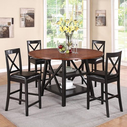 "Austin 5PCs. Counter Height Table Set - Round counter height table features four drop leafs to convert the table from 44"" square to 60"" round. Underneath the table top are two shelves which is great for storing plates, wine bottles and candles."