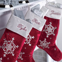 """Exposures - Red Velvet Christmas Stockings Personalized - Overview Update your holiday dcor this year with a sophisticated, stylish new red velvet Christmas stocking personalized for each family member. These personalized velvet stockings will be a hit with adults and children alike on Christmas morning.    Features Red velvet Silver sateen cuff  Hanging loop  Personalization available    Personalization  Silver cuff personalized in burgundy script Up to 12 characters    Specifications  9"""" wide x 16 1/2"""" high x 1"""" deep"""